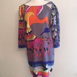 Tibi Silk Op Art Bird Print Tunic Dress w Sleeves